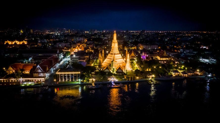 Facing west towards Wat Arun (Bangkok)
